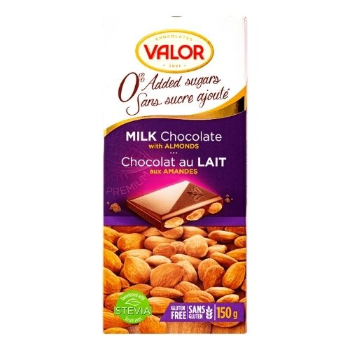 Valor Milk Chocolate with Almonds - No Sugar Added - 150 g