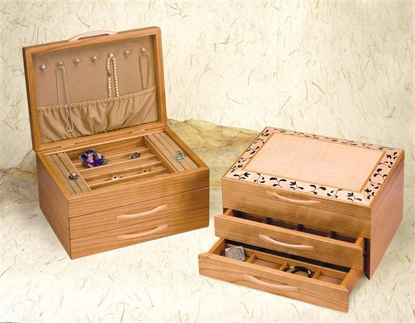Heartwood Black and White Floral Designer Collection 2 Drawer Jewelry Box