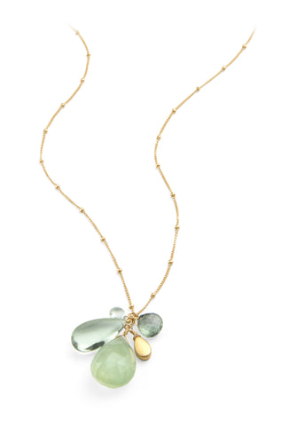 Gold Cluster Necklace w/ Prehnite and Green Amethyst
