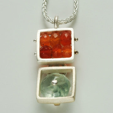 Double Small Square Open Cage Necklace