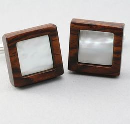 Cuff Link Mother of Pearl on Wood