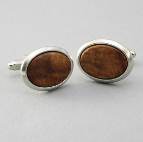 Cuff Link Oval Wood Solid