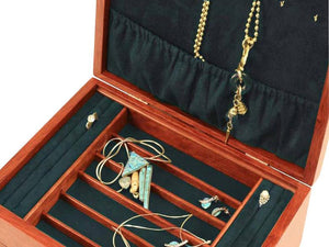 Heartwood Cascade II Collection Jewelry Box - Sapphire Interior
