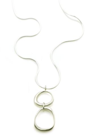 Large and Small Organic Circles Silver Necklace