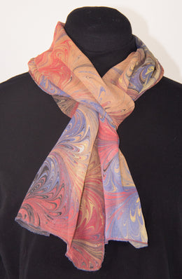 Hand Marbled Silk Chiffon Scarf In Black Primaries