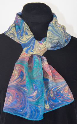Hand Marbled Silk Chiffon Scarf In Celery With Gray