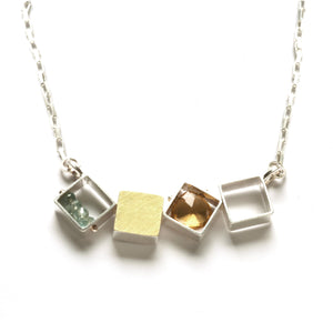 4 Small Squares Necklace, Horizontal