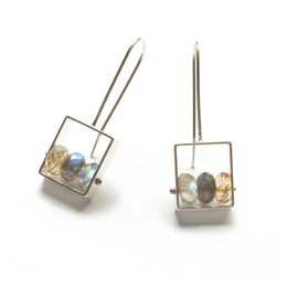 Rectangle Earrings With 3 Stones