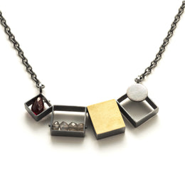 Three Rectangles/One Gold Square Necklace