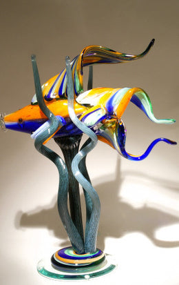 Large Fish In Seaweed Glass Sculpture