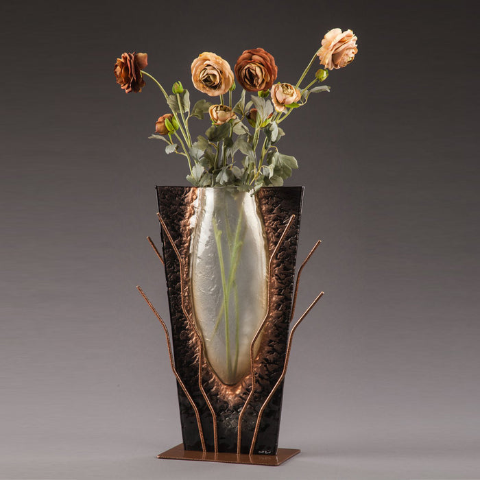 Slumped Glass Vase in Black Marble