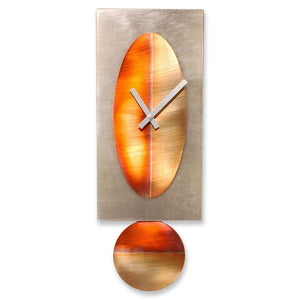 Copper Oval on Steel Pendulum Clock