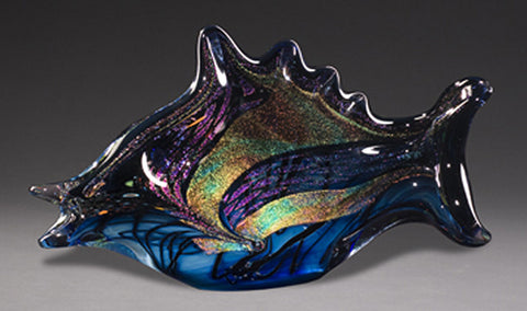 Reactive Blue Fish Sculpture
