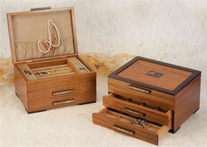 Heartwood Ginko Leaves Designer Collection 2 Drawer Jewelry Box - Boxology