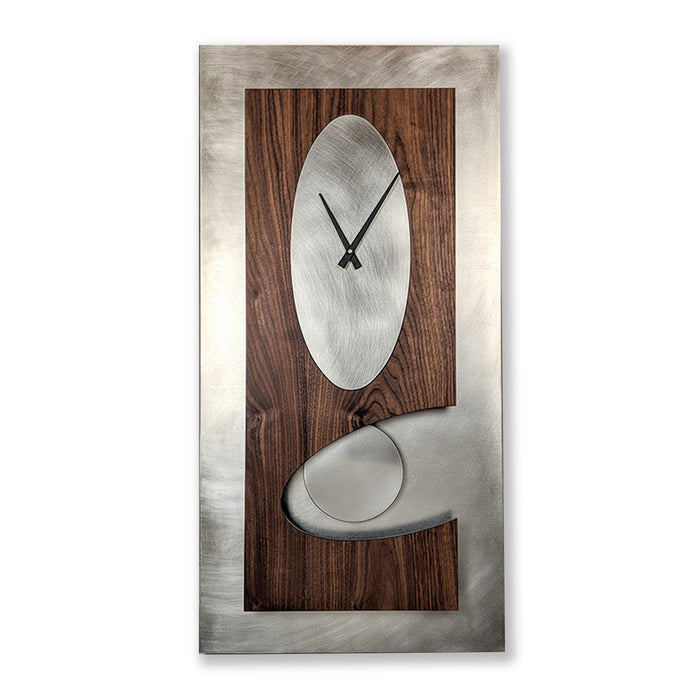 Steel & Walnut 30 Pendulum Clock