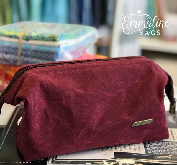 Burgundy Waxed canvas retreat bag by Emmaline Bags