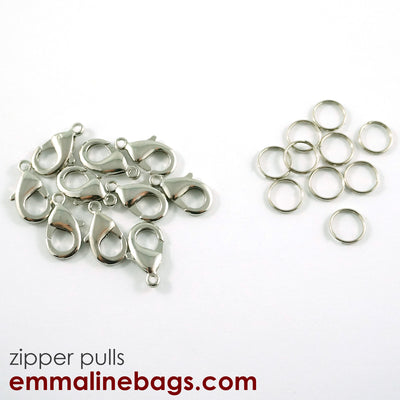 Hooks & Rings for Zipper Pulls: 10 Pack in Nickel
