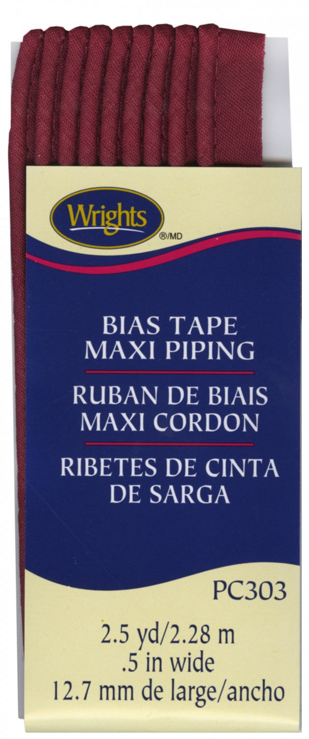 "Corded Bias Tape Maxi Piping - 23 COLOURS (1/2"" wide)"