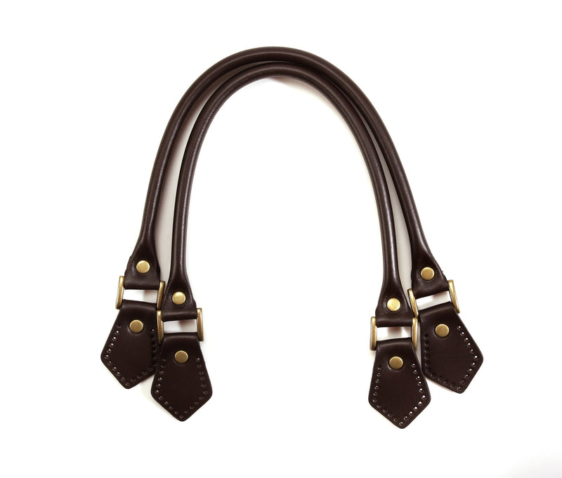"Handbag & Tote Bag Handles: 18.8"" Rolled Leather (1 Pair) - With Riveted Tabs."