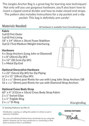 The Jangles Anchor Bag by Sewing Patterns by Mrs H (Printed Paper Pattern)