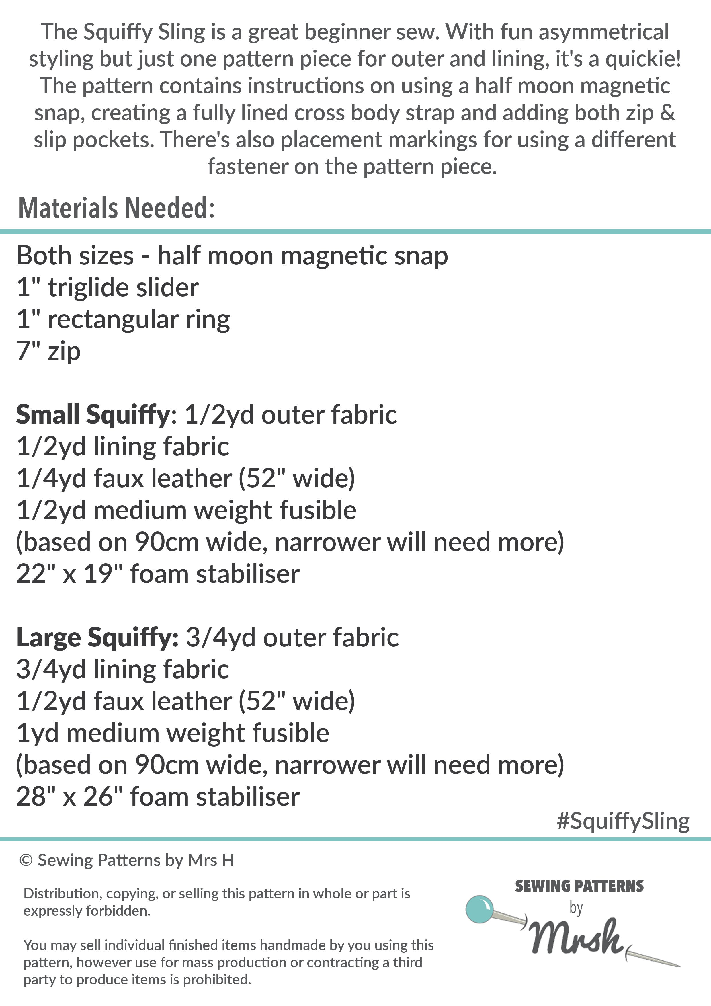 The Squiffy Sling By Sewing Patterns By Mrs H Printed Paper Pattern