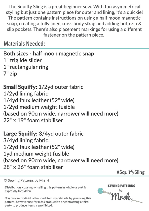 The Squiffy Sling by Sewing Patterns by Mrs H (Printed Paper Pattern)