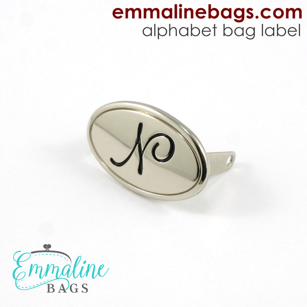 Metal Bag Label: Script Alphabet in Nickel