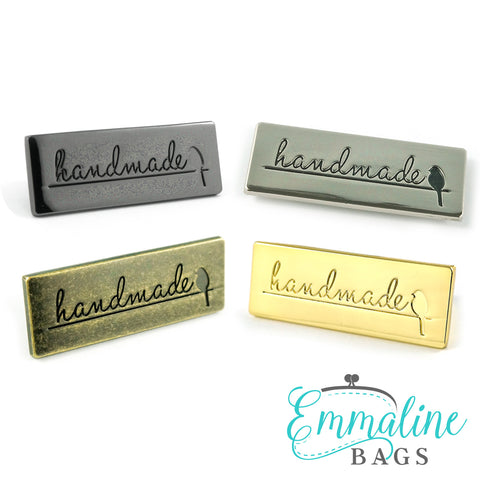 "Metal Bag Label: ""Handmade"" with Bird - in 4 Finishes!"