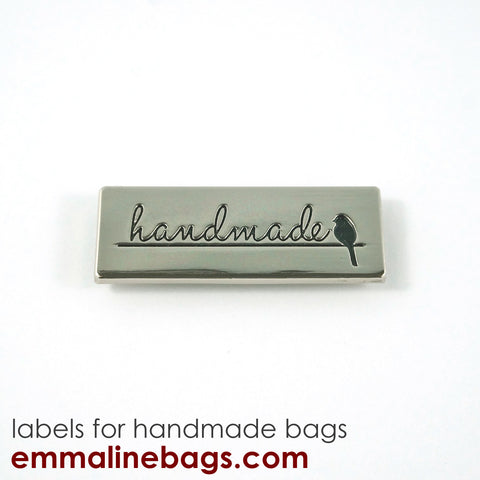 "Metal Bag Label: ""Handmade"" with Bird - in Nickel Finish"
