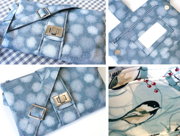 Butterfly Sling Purse in Blue Pattern