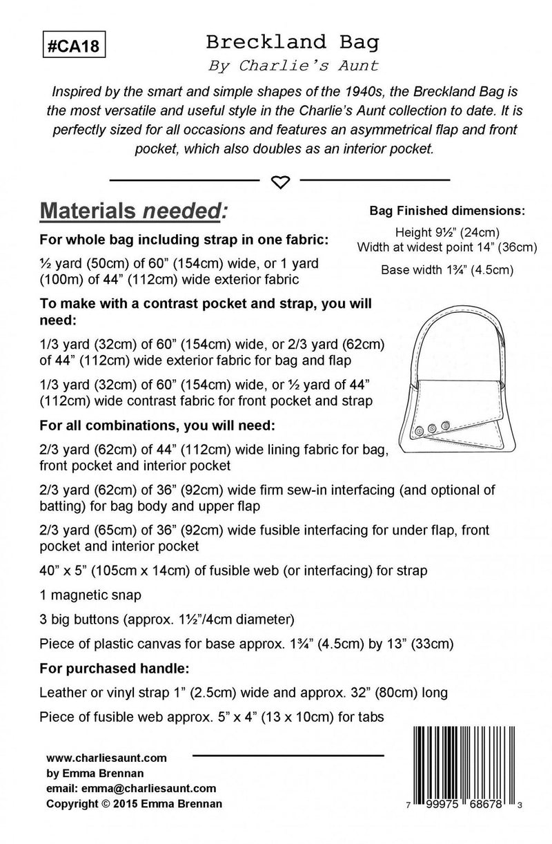 Breckland Bag by Charlie's Aunt (Printed Paper Pattern)