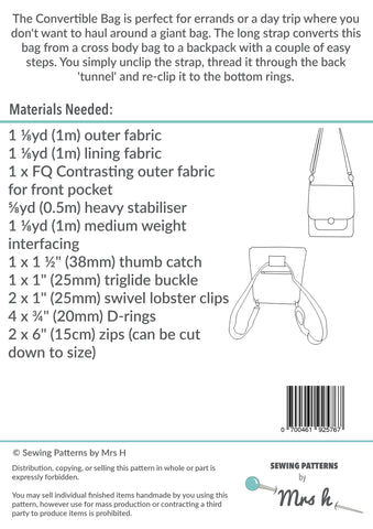 The Convertible Bag by Sewing Patterns by Mrs H (Printed Paper ...