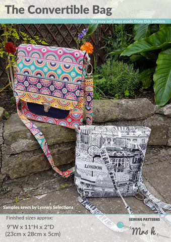 The Convertible Bag by Sewing Patterns by Mrs H (Printed Paper Pattern)