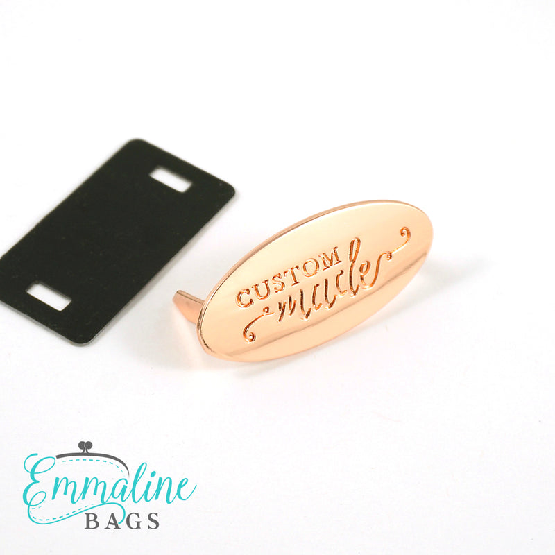 "Metal Bag Label: Oval with ""CUSTOM Made"""