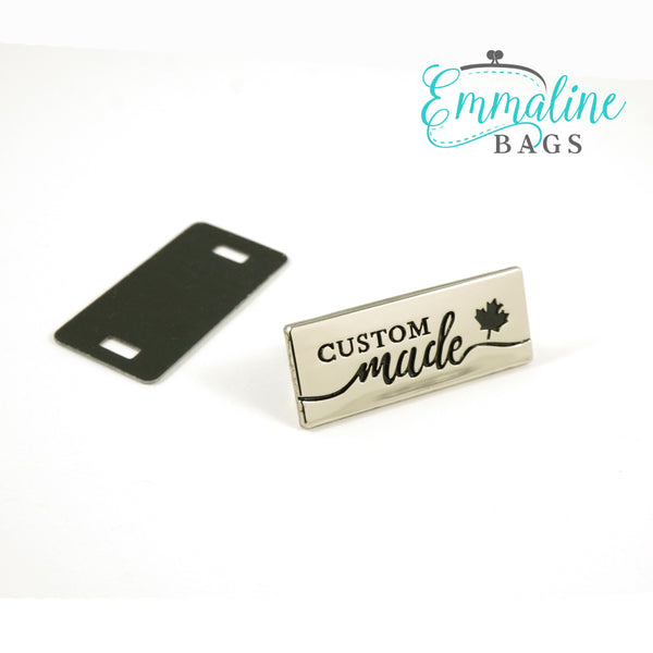 "Metal Bag Label: ""Custom Made"" - with Maple Leaf"