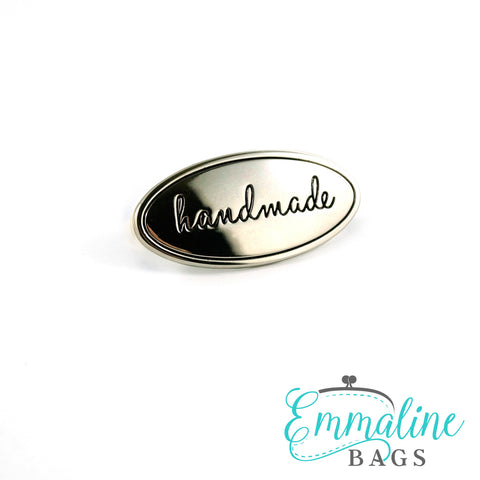 "Metal Bag Label: Oval with ""Handmade"" - in 4 Finishes!"