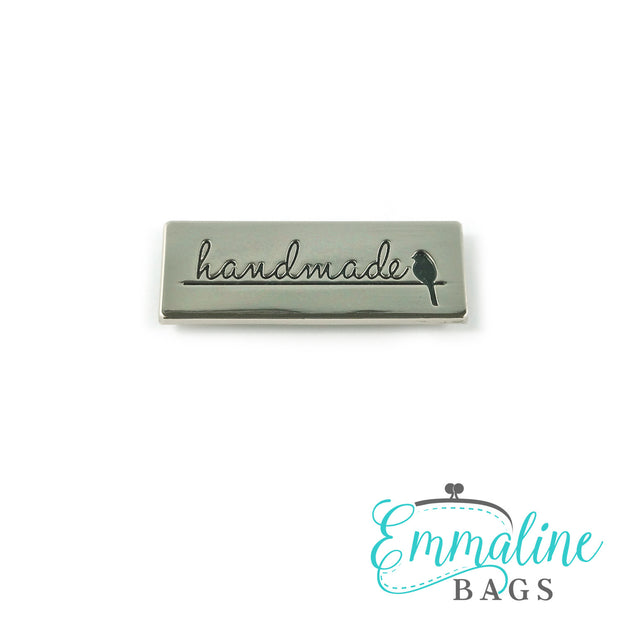 "Metal Bag Label: ""Handmade"" with Bird"
