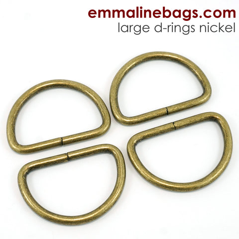 "D-Rings: 1-1/2"" (38 mm) in Antique Brass (4 Pack)"