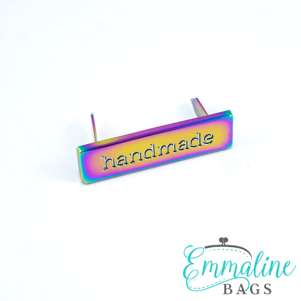 "Metal Bag Label: ""handmade"" in Iridescent Rainbow Finish"