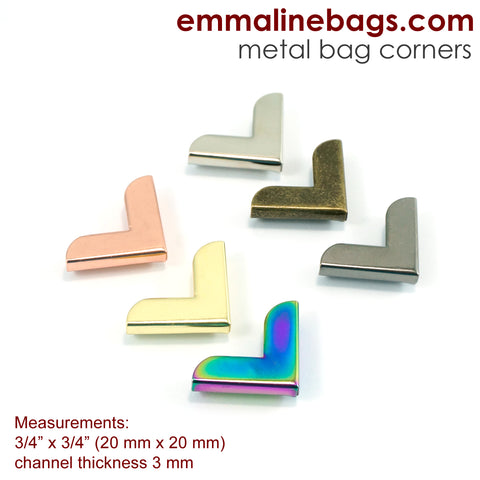 "Metal Corners for Purses 3/4"" x 3/4"" in 6 Finishes (10 Packs)"