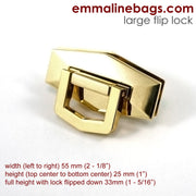 Large Flip lock for bag hardware  by Emmaline Bags