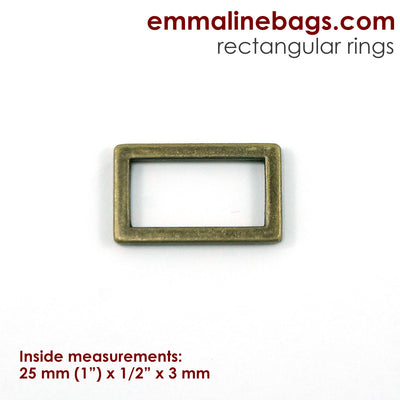 "Flat Rectangular Ring: 1"" (25 mm) in Antique Brass"
