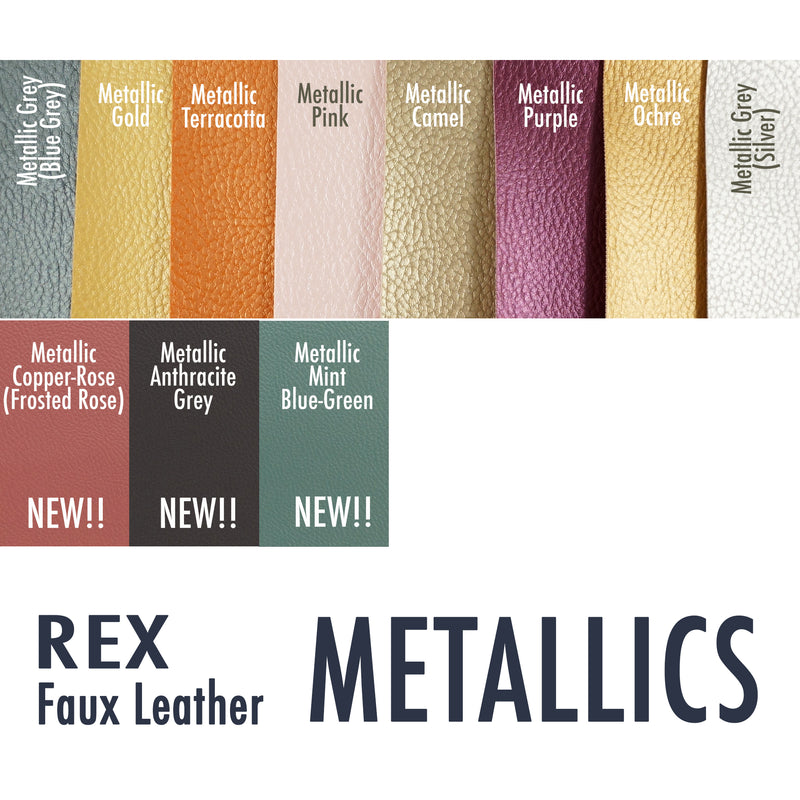 Rex Faux Leather Vinyl, METALLICS -  1/2 YARD