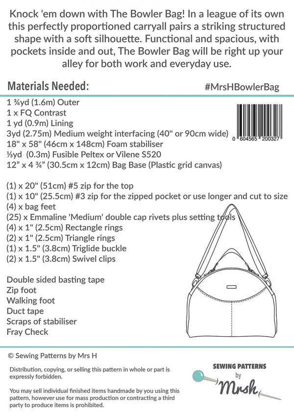 The Bowler Bag by Sewing Patterns by Mrs H (Printed Paper Pattern)