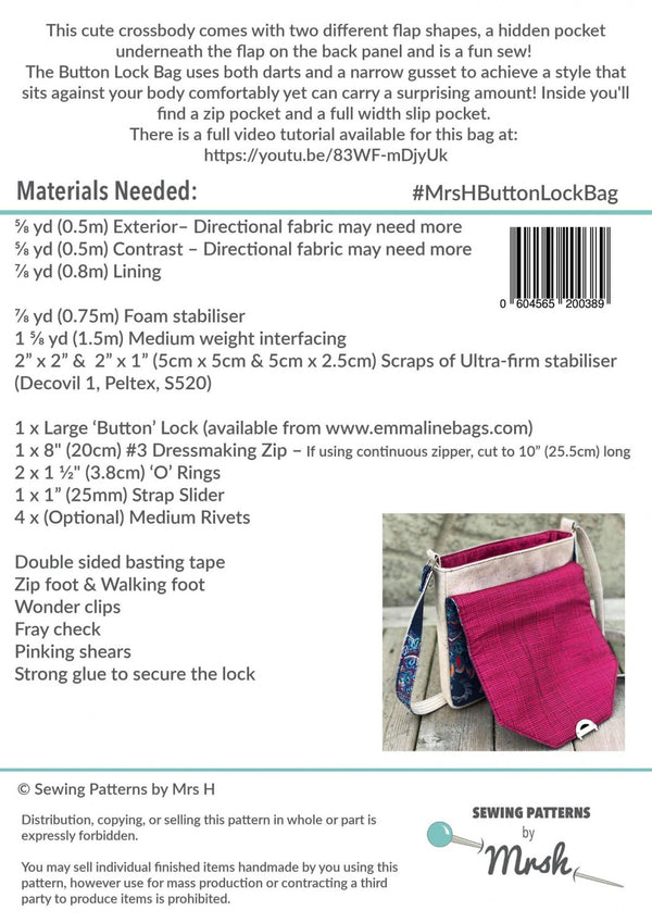 The Button Lock Bag by Sewing Patterns by Mrs H (Printed Paper Pattern)