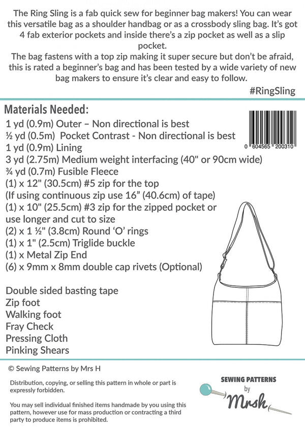 The Ring Sling by Sewing Patterns by Mrs H (Printed Paper Pattern)