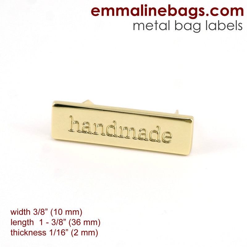 "Metal Bag Label: ""handmade"""
