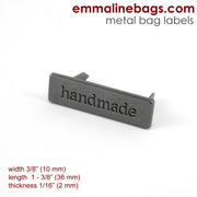 "Metal Bag Label: ""handmade"" in 5 Finishes ($2.49 - $3.29)"