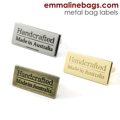 "Metal Bag Label: ""Handcrafted - Made in Australia"""