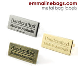 "Metal Bag Label: ""Handcrafted - Made in Australia"" in 3 Finishes ($3.09 - $3.89)"